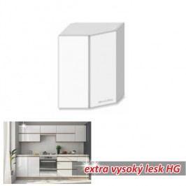 horní skříňka rohová ENILE bílý vysoký lesk 52 cm
