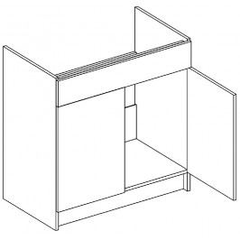 Dolní skříňka pod dřez 80 cm dub picard a bílý lesk D80ZL KN411