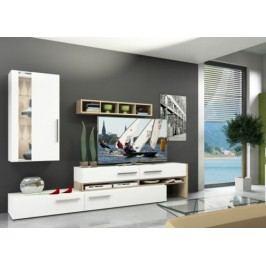 Obývací stěna bílá v kombinaci s moderním dekorem buk ARIZONA