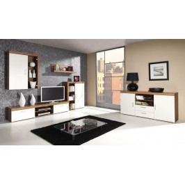 Obývací stěna v dekoru švestka v kombinaci s krémovou barvou F1050 Obývací stěna