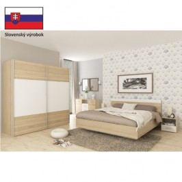 Ložnicový komplet (skříň + postel 180x200x, 2 x noční stolek), dub sonoma / bílá, GABRIELA