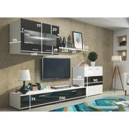 Obývací stěna FLEX bílá/černý lesk