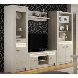 Obývací sestava v elegantním dekoru jasan bílý KN089 Obývací stěna