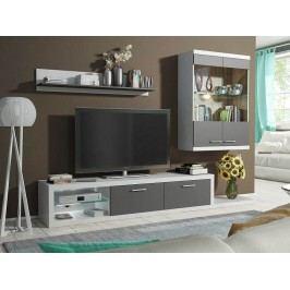 Obývací stěna šedo-bílá, s LED osvětlením a skleněnými poličkami DOLORES