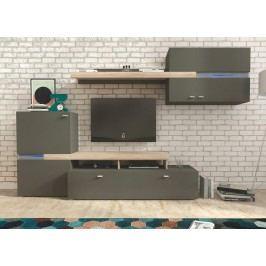 Obývací stěna v trendy jednoduchém designu šedá JET Obývací stěna