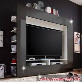Moderní TV a media stěna v černém a bílém provedení s vysokým leskem TK110