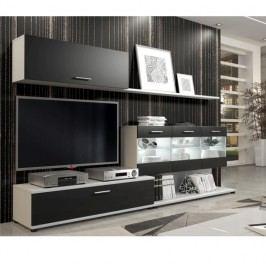 Nadčasová šedobílá obývací stěna s osvětlenou vitrínou a šuplíky TK208