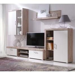 Obývací stěna v kombinaci dub san remo a krémová F1050