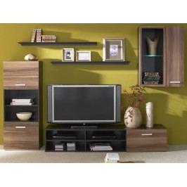Obývací stěna FARGO v kombinaci wenge a švestka wallis s LED osvětlením