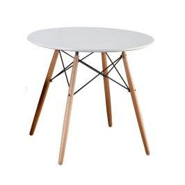 Jídelní stůl kulatý 90 cm bílý s dřevěnými nožkami a kovovým zdobením TK259
