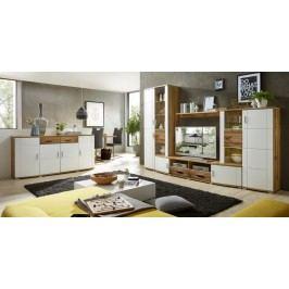 Moderní obývací stěna v barvě bílé a dub KN322