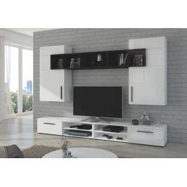 Moderní a elegantní obývací stěna v bílém lesku KN328
