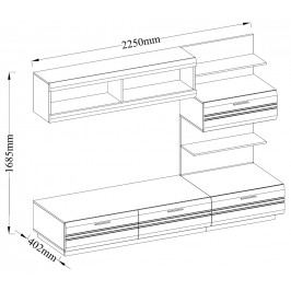 Moderní obývací stěna v barevném provedení dub lefkas a bílý lesk KN295