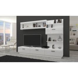Moderní obývací stěna v barevném provedení bílé a bílém lesku KN295