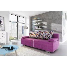 Rozkládací pohovka s úložným prostorem v fialové barvě s barevnými polštáři F1094