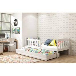 Dětská postel z borovicového dřeva v bílé barvě s přistýlkou F1176