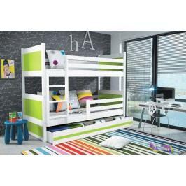 Dětská patrová postel s úložným prostorem v kombinaci bílé a zelené barvy F1133