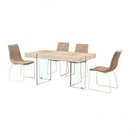 Jídelní stůl 150x75cm z MDF materiálu a tvrzeného skla TK2107