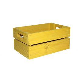 Asko Dřevěná bedýnka žlutá 30x20 cm