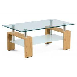 Autronic Konferenční stolek v kombinaci divoký dub a sklo AF-1024 OAK