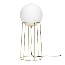 Bílo zlatá kovová stojací lampa Hübsch Loun 60 cm