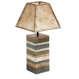 Pestrobarevná dřevěná stolní lampa LaForma Albany s kozí kůží