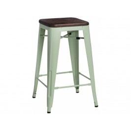 Barová židle Tolix 65, zelená/tmavě kartáčované dřevo 96315 CULTY