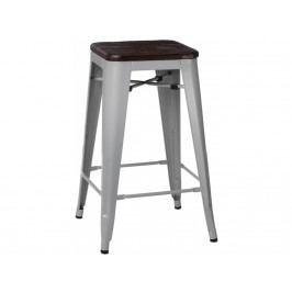 Barová židle Tolix 75, šedá/tmavě kartáčované dřevo 94494 CULTY