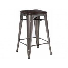 Barová židle Tolix 75, metalická/tmavě kartáčované dřevo 94504 CULTY