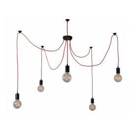 Závěsné světlo Spider 5 žárovek, červená Sfilament022 FILAMENTSTYLE