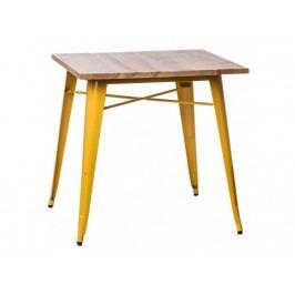 Jídelní stůl Tolix 76x76, žlutá/světlé dřevo 72993 CULTY