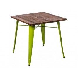 Jídelní stůl Tolix 76x76, světle zelená/tmavé dřevo 72996 CULTY