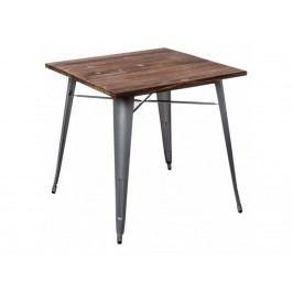 Jídelní stůl Tolix 76x76, šedá/tmavé dřevo 73002 CULTY