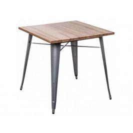 Jídelní stůl Tolix 76x76, šedá/světlé dřevo 72975 CULTY