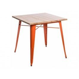 Jídelní stůl Tolix 76x76, oranžová/světlé dřevo 72990 CULTY