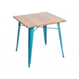 Jídelní stůl Tolix 76x76, modrá/světlé dřevo 72972 CULTY