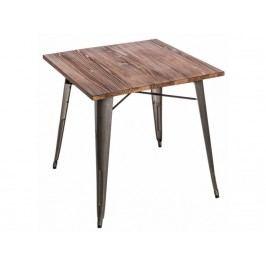 Jídelní stůl Tolix 76x76, metalická/tmavé dřevo 73005 CULTY