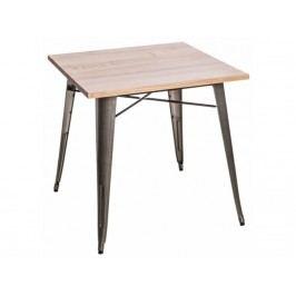 Jídelní stůl Tolix 76x76, metalická/světlé dřevo 72978 CULTY Masivní jídelní stoly