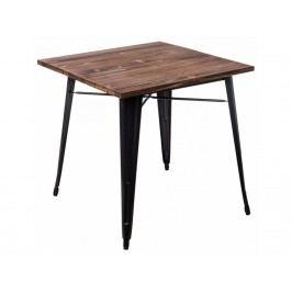 Jídelní stůl Tolix 76x76, černá/tmavé dřevo 73008 CULTY