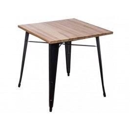 Jídelní stůl Tolix 76x76, černá/světlé dřevo 72981 CULTY