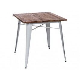 Jídelní stůl Tolix 76x76, bílá/tmavé dřevo 73011 CULTY