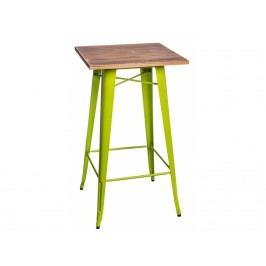 Barový stůl Tolix, světle zelená/tmavé dřevo 73104 CULTY