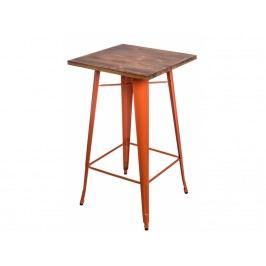Barový stůl Tolix, oranžová/tmavé dřevo 73125 CULTY