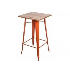 Barový stůl Tolix, oranžová/světlé dřevo 73098 CULTY