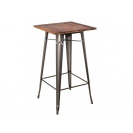 Barový stůl Tolix, metalická/tmavé dřevo 73113 CULTY