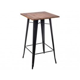 Barový stůl Tolix, černá/tmavé dřevo 73116 CULTY