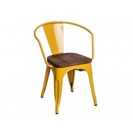 Jídelní židle Tolix 45 s područkami, žlutá/tmavé dřevo 72819 CULTY