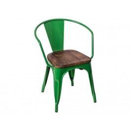 Jídelní židle Tolix 45 s područkami, tm. zelená/tmavé dřevo 72792 CULTY