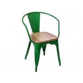 Jídelní židle Tolix 45 s područkami, tm. zelená/světlé dřevo 72732 CULTY