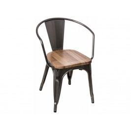 Jídelní židle Tolix 45 s područkami, metalická/světlé dřevo 72756 CULTY